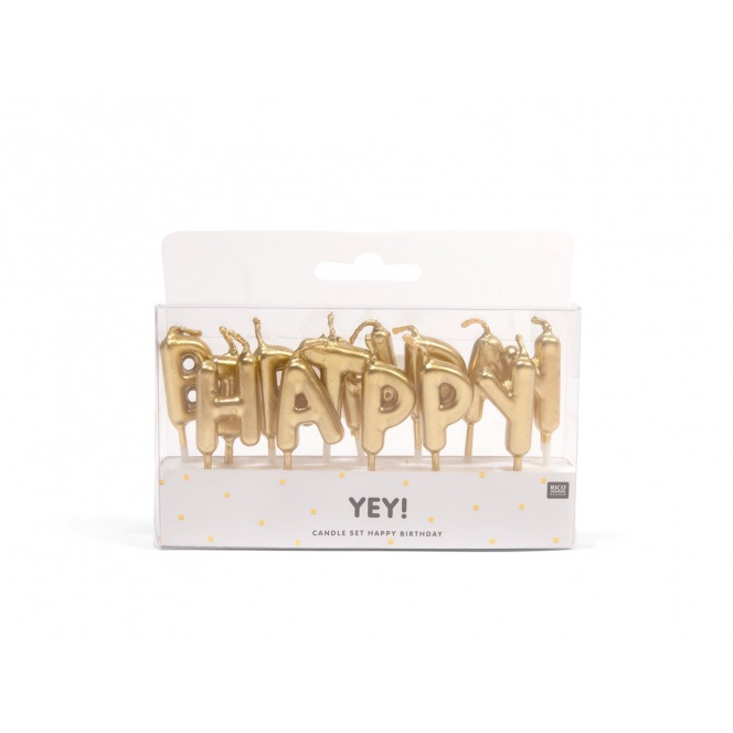 Rico Design Yey - Anniversary Candle - Golden Happy Birthday