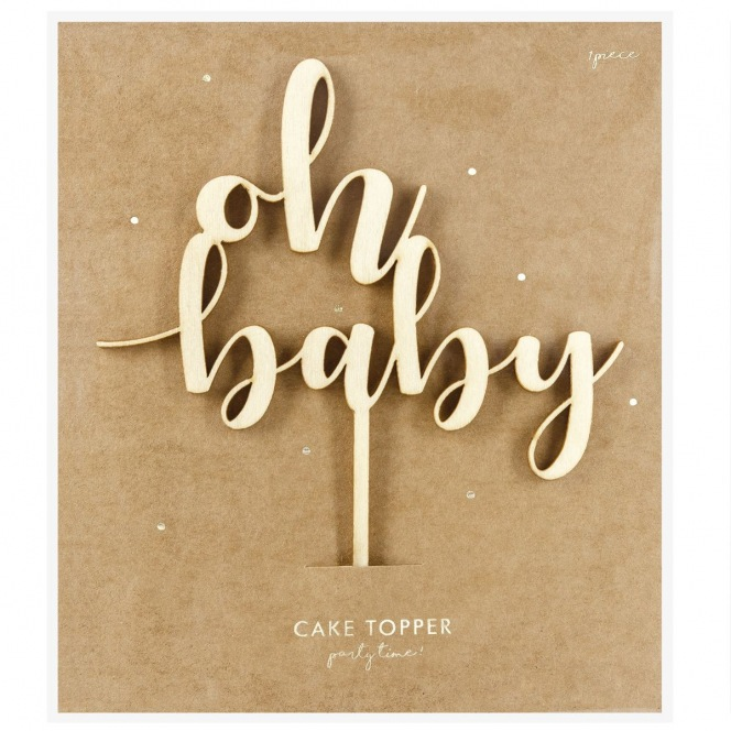 PartyDeco Wooden Cake Topper - Oh Baby