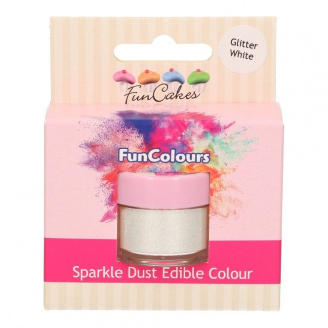 Edible FunColours Sparkle Dust - Glitter White - Funcakes