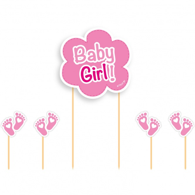 Cake Toppers Baby Girl 5pcs - Folat