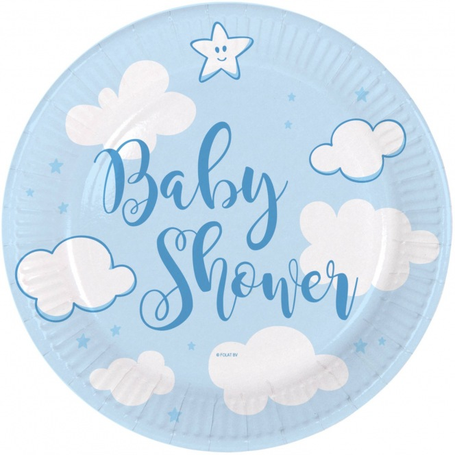 Baby Shower Plates - Blue - 18cm - Folat