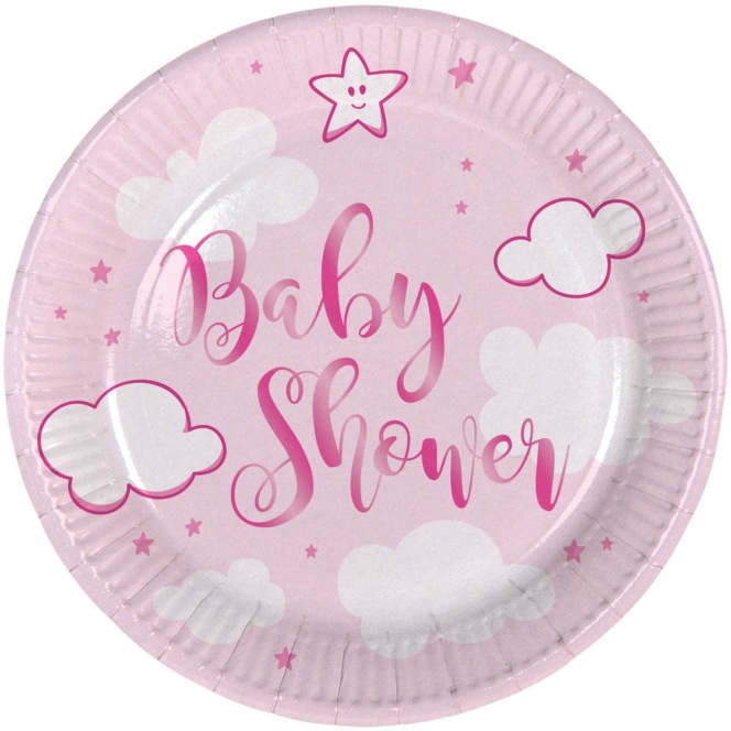 Baby Shower Plates - Pink - 18cm - Folat