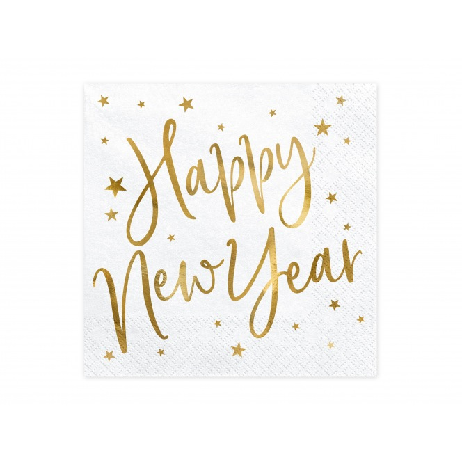 20 Napkins Happy New Year - Gold - PartyDeco