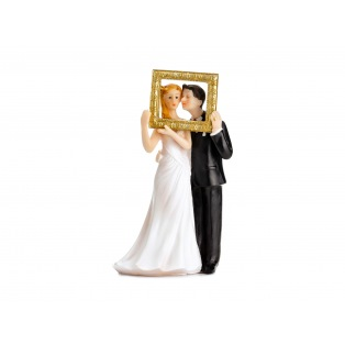 Cake Topper - Newly-weds in a gold photo frame - PartyDeco