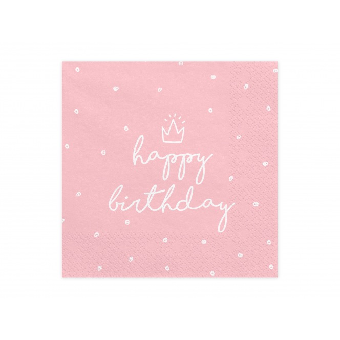 20 Napkins - Happy Birthday - Rose & Crown - PartyDeco