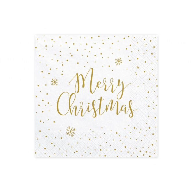 20 Napkins Merry Christmas - White/Gold- PartyDeco