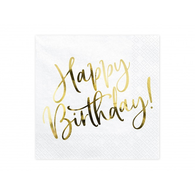 20 Napkins - Happy Birthday - Gold- PartyDeco