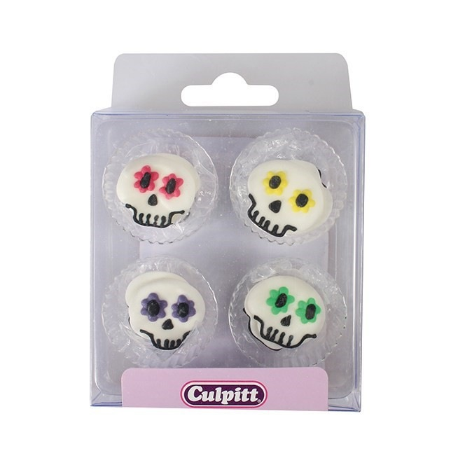 Party Skull Sugar Decorations - 12pc- Culpitt
