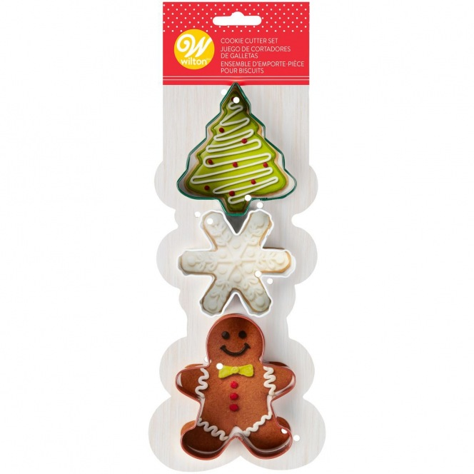 3 Cookie Cutters - Gingerbread Man/ Snowflake/ Tree - Wilton