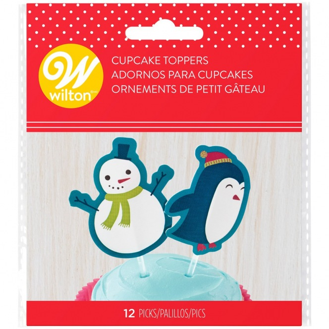 12 Cake toppers - Snowman & Penguin - Wilton