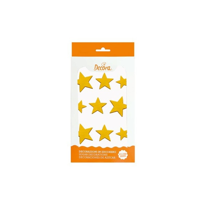 Sugar decorations - Golden Stars - 9pcs - Decora
