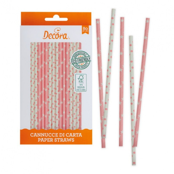 80 pink and white paper straws sticks