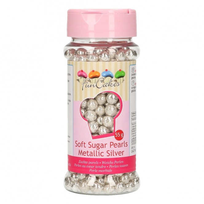 Soft Pearls - Metallic Silver - 55g - Funcakes