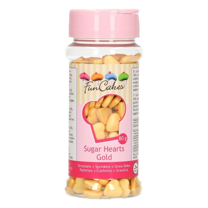 Sugar Hearts - Gold - 80g - Funcakes