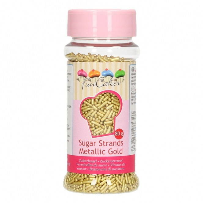 Sugar Strands Metallic Gold - 80g Funcakes