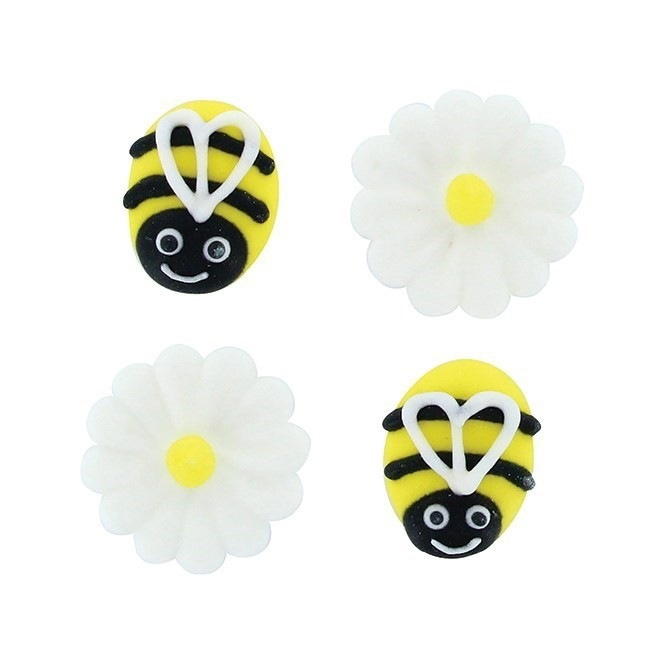 Bee and Daisy Sugar Decorations - 12pc- Culpitt